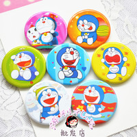 Wholesale Cute Birthday Doraemon - Wholesale-10pcs lot Cute Doraemon Cartoon badge happy birthday party supply baby shower favor gift for boy girl