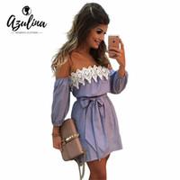 Wholesale Plus Size Beach Lace Sundresses - Wholesale- AZULINA Sexy Off Shoulder Blue Striped Mini Dress Women Plus Size Summer Loose Beach Sundress White Lace Crochet Party Dress