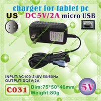 Wholesale Sanei Usb - Wholesale- 2pcs [C031] micro USB   5V,2A   US power plug (United States Standard) Charger or Power adaptor for tablet pc;onda,sanei,cube