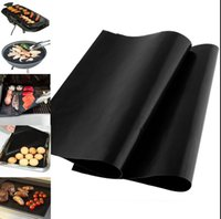 Wholesale Grill Accessories Wholesale - BBQ Grill Mat 5Pcs lot NoStick 40*33cm BBQ Mat Sheet Plate Portable OutDoor Cooking Tool BBQ Accessories Grill Mats KKA1789