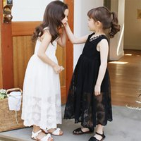 Wholesale White Sundresses For Beach - Girls Lace embroidery princess dress Big girls Summer Sleeveless sundress summer sisters outfits party dress for 4-14T