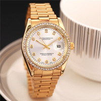 Wholesale Diamond Top - 2017 Top Brand Luxury adult champagne gold dress women's watches white diamond dial Steel strap mens Quartz watches Fashion gifts for lovers
