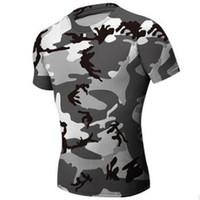 gimnasio gimnasio camisa hombres al por mayor-Camisa ajustada de camuflaje de caza Hombres Ropa de gimnasia Compresión Camisa de combate táctica del ejército Camo Compresión Fitness Hombres Ropa deportiva al aire libre