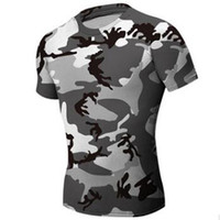 Wholesale Sport T Shirt Camo - Hunting Camouflage Tight T-Shirt Men Gym Clothing Compression Army Tactical Combat Shirt Camo Compression Fitness Men Outdoor Sports Wear