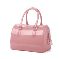 Wholesale Transparent Shoulder Candy Handbags - Large Size 26cm Women Fashion Handbag Silicone Jelly Bag Boutique Tote Candy Transparent Noble Feminina bag Casual Clutch Hot