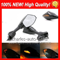 Wholesale Universal Turn Signal Mirrors Motorcycle - Universal Motorcycle LED Turn Signal Mirrors turn light Mirror Black Carbon LED turnning light For HONDA CBR600RR CBR1000RR CBR600 F4 F4i RR