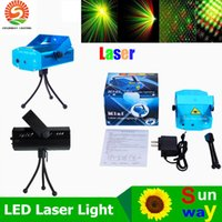 Wholesale Mini Lights Green Color - Portable Laser Stage Lights (Red + Green Color) Multi All Sky Star Lighting Mini DJ Laser For Christmas Party Home Wedding Club Projector