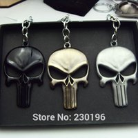 Wholesale Super Skull Rings - New Arrival 3 Color The Marvel Super Hero Keychain Alloy Skull Key Ring Movie Jewelry Christmas Gift 12pcs lot Free Shipping
