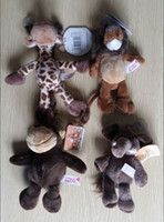 Wholesale Germany Toys - Wholesale-Kawaii Cute 15cm Germany NICI Jungle Brother Tiger Elephant Monkey Lion Giraffe Plush Animal Toy Gift Free Shipping Gift