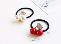 black cherry band - Hot Sale Red White Simulated Pearl Crystal Leaf Cherry Rubber Band Elastic Hair Bands Girls Hair Accessories for Women Headwear