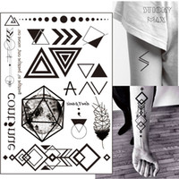Wholesale Wrist Ankle Lock - W07 Geometric Tattoo with Triangle, Square, Planet, Semicolon,Lock Design Body Paint Waterproof Tattoos