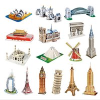Wholesale Charm Selling CubicFun D Puzzle Paper Model Independence Hall Three dimensional Jigsaw Yacht DIY Jigsaw Toys Free Gift