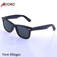 Wholesale girl protection - AOOKO Hot Sale Men Glass Gray Dark Green lens Sun Glasses Outdoor UV Protection Women oculos de sol masculino Sunglasses 50 52 54mm