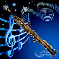 Wholesale Sax Soprano Black - Hot French Selmer High-pitch Soprano Saxophone One Piece Straight B Flat Saxe Top Musical Instrument Black Ni-Au Sax