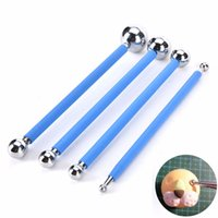 Wholesale Polymer Clay Ball Tool - Wholesale- 4pcs Lot Sugarcarft Fondant Cake Decorating Kit,Stainless Steel Molding Ball Sticks Kitchen Accessories Polymer Clay Tools