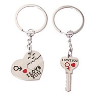 Wholesale I Lock Love - 20pcs lot 1Pair I LOVE YOU Heart Lock Keychain Metal Romantic Gift for Lovers Arts and Crafts Key Ring