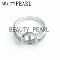 Навалом из 3 штук Кольцо Результаты Cubic Zirconia 925 Sterling Silver Base Base для DIY Pearl Jewellery Mount