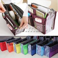 Wholesale Nylon Makeup Purse - Free DHL Women Travel Makeup Nylon Cosmetic Bag Insert Handbag Purse Zipper Case Organizer Bag in Bag