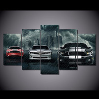 5 Panel Three Muscle Cars Canvas Painting HD Imprimé Wall Picture For Home Decor Cadeau personnalisé sans cadre