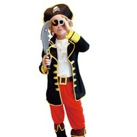 Wholesale Costumes For Christmas Performance - New Kids Priate Cosplay six-piece sets Pirates of the Caribbean Holloween Cosplay costume for children new years christmas performance