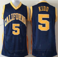Wholesale California Shirts - Throwback California Golden Bears Jason Kidd College Basketball Jerseys #5 Jason Kidd Navy Blue Shirt Retro Mesh Stitched University Jerseys