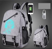 Wholesale usb characters - computer backpacks USB Charge Luminous backpack with anti-theft lock 9 color travel bags Large capacity school bag