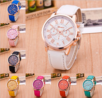 Wholesale Geneva Watches Yellow - 2017 New Fashion Geneva watch Ladies Brand Leather Band Watch Quartz for Women watch waterproof Acc009
