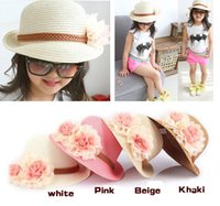 Wholesale Kids Summer Hats Sale - hot sale Baby Girl Flower Caps Girls Summer Beach Sun Hat Cute Baby Two Flowers Straw Hats Children Straw Fedora Hat Kids Jazz Cap 4 Colors