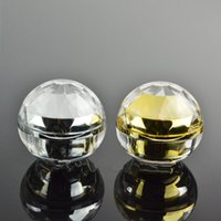 Wholesale Empty Acrylic Jars - 30G empty luxury diamond sphere Acrylic cream container gold eye cream sample Cosmetic Jar ,Cosmetics Packaging pot F20171889