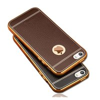 Wholesale Rose Gold Iphone Bumper - Phone Case For iPhone 7 Plus iPhone 5 SE 6 6S iPhone7 Cover Silicone Litchi Leather Pattern Gold Plated TPU Bumper Anti-knock Case