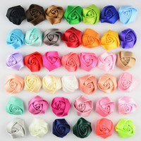 Wholesale Mini Rosette Bows Wholesale - 100pcs Free shipping 4cm Mini Satin ribbon Roses Flowers handmade Rosette Flower For wedding Hair Accessories without hair clip HT2132