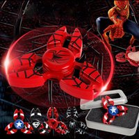 Multicolor spider man kids - Metal Crab Captain America Spider Iron Man EDC Hand Spinner super hero Fidget Toys Finger Fingertips Gyro Tri Triangle Spinners OTH474