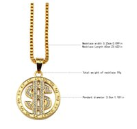 Wholesale Rap Necklaces - Fashion Round Dollar US Money Sign Chain With Rhinestone Gold Plated Hip Hop Rap Singer Fashion Jewelry For Men Women