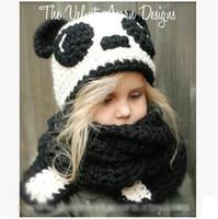 Wholesale Girls Panda Set - Creative Children's Cute Panda Knitted Hats Scarves Sets Good Quality Manual Childeren's Wool Hats Cute Cartoon Panda Caps Scarves Sets