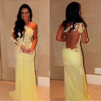 Elegant Tulle Chiffon One-shoulder Sheath Evening Dresses With Lace Appliques See Through Long Sleeves One Shoulder Yellow Prom Dresses
