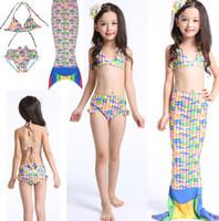 Wholesale Girls Bikinis Sale - Girls Mermaid Tail Swimsuits Kids Mermaid Bikini Hot Sale Girls Swimsuits Kids Beach Swimwear Mermaid Bathing Suits 3PCS Set KKA1311