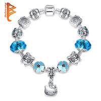 Wholesale Silver Bangles For Children - BELAWANG Lovely Cute Kitty Charm Bracelets Bangles With Blue Murano Glass Beads Bracelet for Women Children Girl DIY 925 Silver Jewelry Gift