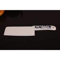 Wholesale Traditional Chinese Ceramics Wholesale - chef ceramic knife sharp kitchen knife fine quality blue flower handle white blade ceramic cooking knife and peeler