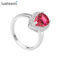 Wholesale Valentines Day Ring Sales - Water Drop Shape Crystal Ring for Engagement Four Color Option Hot Sale Valentines Day Gift Wholesale LUOTEEMI