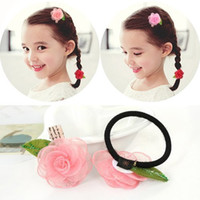 Wholesale Rubber Aprons - Children's hair baby girl Ponytail Hair ring apron band girls hair head ornament lovely flowers
