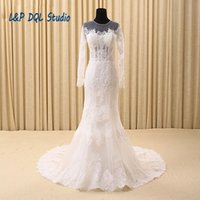 Wholesale Caught Up Wedding Dresses - Eye Catching Mermaid Wedding Dress Crew Long Sleeves Lace Court Train Wedding Dresses Illusion Sheer with lace Applique Shining Sequins