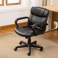Wholesale Computer Chairs Ergonomic - Ergonomic PU Leather Mid-Back Executive Computer Desk Task Office Chair, Black