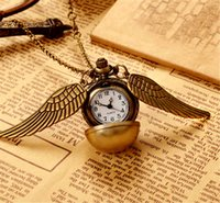 Wholesale Harry Wings Necklace - pendants necklace Watch Fob Watches Harry Potter pocket watches for men women bronze ball wings quartz watch mens womens gift wholesale hot