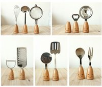 Wholesale Dishware Wholesale - Smiling Face Wooden Handle Stainless Steel Tableware Creative Baking Tool Zakka Spoon and Fork Whisk Dishware Set
