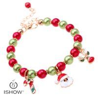 Wholesale Handmade Glass Beaded - Santa claus glass pearl bracelets Fashion Girl new armbanden christmas foot chain handmade beaded strands gift pulseras mujer