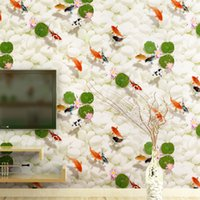 Wholesale Fish Paper Roll - Wholesale- Modern Brief Chinese Style Wallpaper Roll 3D Fish Wallpapers for TV Sofa Background Non Woven Wall Paper for Walls Home Decor