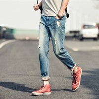 Wholesale Teenage Mens Jeans Hot Style Capris Pants Fashion Men Hole Jeans Denim fabric Pants for Men