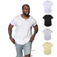hip hop em branco venda por atacado-Camiseta Masculina Kanye West Prolongado T-Shirt Dos Homens de roupas Curvo Hem Longa linha Tops Hip Hop Urbano Em Branco Justin Bieber TX135-R