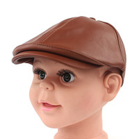 Wholesale gatsby newsboy hats - Wholesale-Kids pu leahter Cool Cabbie Newsboy Gatsby Hat children Beret Cap