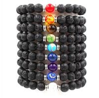 Wholesale Volcanic Clay - Volcanic stone Unisex Chakra Energy Bracelets Natural Lava Stone Bracelets 8mm Colorful Beads Bracelets Jewelry Gift Jewelry ccessories